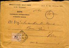 ITALY 1910 BUSTA POSTE SEGNATASSE 20 C. COVER