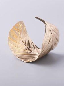 Neu Armreif Gebogenes Blatt gold breiter Armreif Armband Manschette H36