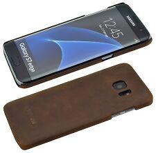 Echt Leder Backcover Bumper Hard Case COFFEE Tasche für Samsung Galaxy S7 Edge