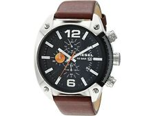 New Diesel Men's DZ4204 Advanced Overflow Chronograph Watch Brown Leather Band