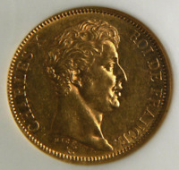 1824 A French Gold 40 Francs Or Gold Piece Coin 1824A  NGC AU58