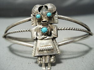 DETAILED VINTAGE NAVAJO KACHINA TURQUOISE STERLING SILVER BRACELET OLD JEWELRY