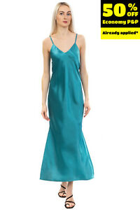 SOALLURE Satin Maxi Slip Dress Size IT 42 / S Slit Sides Strappy Made in Italy