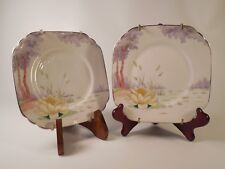 Pair of Vtg Wellingston China JHC & Co England China Square Plates w/ Hangers