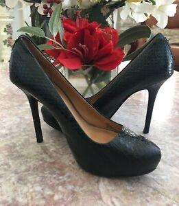 COACH Q3013 Christina Black Python-Embossed Leather Heel Pump Sz 6 EUC MSRP $248