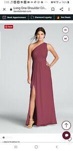 Davids Bridal Bridesmaid Dress Size 6. Long One Shoulder Crinkle Chiffon. Color