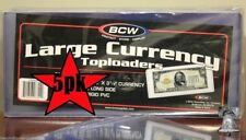 50 BCW Large Rigid Toploader Bill FUNNYBACK Banknote Holder PVC Case