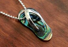 Hawaiian 925 Sterling Silver ABALONE SHELL PLAIN SLIPPER Pendant Necklace SS1896
