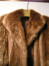 """LONG HAIRED 52"""" BROWN BEAVER FUR COAT- SIZE 16 MEDIUM - LIGHTLY USED"""