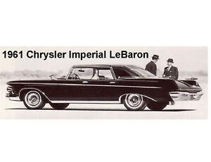 1961 Chrysler Imperial LeBaron  Auto  Refrigerator / Tool Box  Magnet