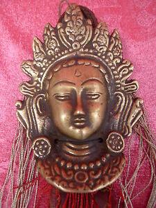 Belle, Très vieux Bronze Masque Vieux __Tempel-Zierelement__ Bronze Avec Tissu _