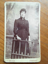 Antique CDV Card Photograph DARK HAIRED LADY+BRACELETS ~ By T Briggs, Bradford
