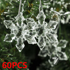 60 Christmas Clear Snowflakes With Silver Thread Ornaments Party Xmas Tree Decor