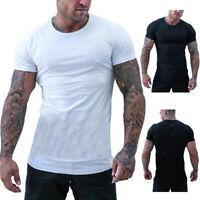 Sommer Oversize Herren Slim-Fit Long-Tee V-Neck Basic Kurzarm T-Shirt Rundhals