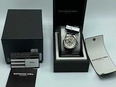 NWT Raymond Weil Freelancer Ivory Dial Stainless Steel Men's Watch 7730-ST-65025