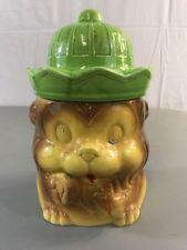 G17 Vintage Lion Cookie Jar Ceramic Brown Green Hat Made In Japan