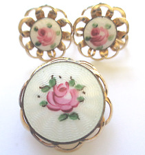 Vintage Unsigned Coro? Guilloche Brooch Pin & Screw-back Earrings Very Nice Cond