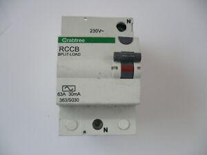 Crabtree 63A DP RCD 363/S030 Split Load 30mA (Black Button) 63Amp 63 Amp A RCCB