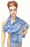 Indian Block Print Women Long Sarong Muffler Stole Scarf Neck Wrap Cotton Blue