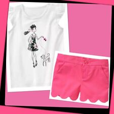 NWT 6 Gymboree DAISY PARK 2pc TOP Pink SCALLOPED SHORTS Girl Walking Dog Outfit