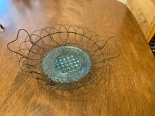 Vintage Footed Wire Basket With Blue Glass Bottom