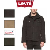 SALE! Levi's Men's Knit Collar Cotton Canvas Shell Trucker Jacket Khaki VARIETY