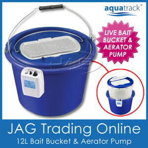 AQUATRACK 12L LIVE BAIT BUCKET & AERATOR FISHING AIR PUMP 2-Speed 150 hrs 3-in-1