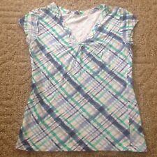Junior's SO V-neck shirt size XL white green blue plaid short sleeves