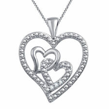 Triple Heart Pendant Necklace Natural Diamond Accents in White Gold Plated Brass