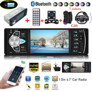 Car Stereo Radio MP5 Player 4.1'' Touch Screen Bluetooth FM 1Din + Backup Camera