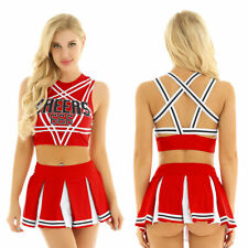 US Women's Sexy Cheer Leader Costume Uniform Crop Top Mini Pleated Skirt Outfits