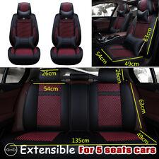 US 13Pcs 5 Seats Car Cover Cushion PU Leather Front & Rear  W/Neck Lumbar Pillow