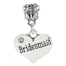 Bridesmaid Heart Wedding Bridal Party Gift Dangle Charm for European Bracelets