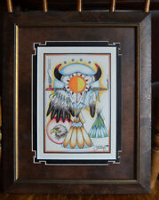 Indian Art Wall Frame Picture Cervantes 2000 Eagle Place Pipe Tepee Skull