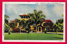 Vintage card. A beautiful home at Miami Beach, Florida, U.S.A.