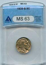 1935-s Buffalo Nickel 5c ANACS MS 63