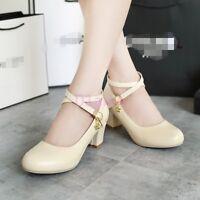 Women Bridal Cross Strap Chunky Heel Mary Jane Round Toe Lolita Pump Office Shoe