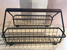 Vintage Mid Century Modern Glass Rack Holder Carrier Caddy Gold, Black & Wood