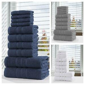 10 PCS Bathroom Towels 100% Cotton Towel Bale Set Soft Hand Face Bath Sheets