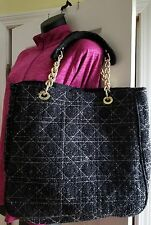 Mark by Avon handbag tote black and white with gold chain link hardware