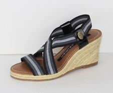 Libby Edelman Cyana black white stripe stretch wedge sandals size 6M