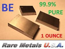 BERYLLIUM 1 TROY OZ OUNCE PURE 99.9% | ELEMENT 4 INGOT BAR CHUNK RARE METALS USA