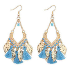 WOMENS Hippy Boho Bohemian Beads BLUE Tassle Long Dangle Drop Hoop Hook Earrings