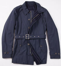 NWT $2795 BORRELLI NAPOLI Navy Tech Fabric Belted Trench Coat 50/M Wool Lining