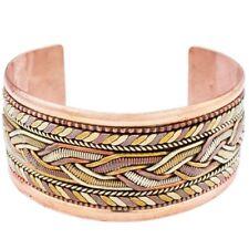 Copper and Brass Bracelet Healing Cuff - Dzi Handmade in Nepal