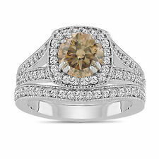 Platinum Champagne Brown Diamond Engagement Ring And Wedding Band Sets 1.80 Ct