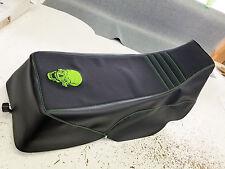 YAMAHA BANSHEE  seat cover SKULL LOGO  LIME GREEN THREAD & GRIPPER & black