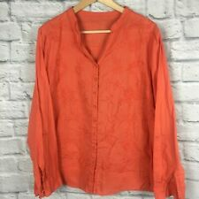 Ladies Shirt Blouse 16/ 18 Orange Summer Pretty Cotton Casual
