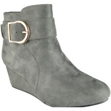 f3ac85fb179c Womens Ladies Faux Suede Mid Low Heel Wedge Buckle Work Ankle BOOTS Shoes Size  UK 8