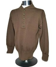 DSCP Military Brown Henley Sweater 5 Button Garrison Collection Men's Large